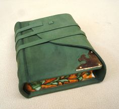 Leather Journal Green Suede with Painted Edges by Leatherdust