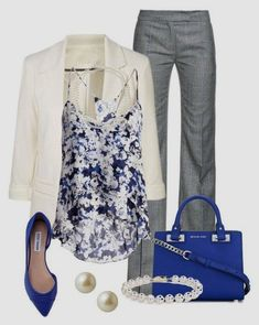 Take a look at 35 grey pants outfits for work you can copy in the photos below and get ideas for your own outfits! Women's Business Casual Fashion… This would be perfect for game day if the blazer was purple! Stylish Work Outfits, Work Casual, Classic Work Outfits, Casual Dinner, Casual Office, Fashionable Outfits, Office Attire, Office Wear, Casual Chic
