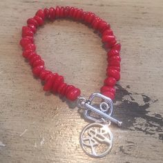 """Coral charm bracelet Red coral. Sterling toggle. Sterling Chinese symbol that means """"love"""". Handmade Jewelry Bracelets"""