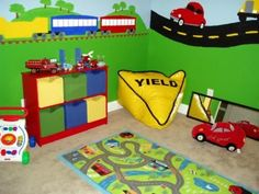 This+fun-filled+playroom+submitted+by+HGTV+fan+mom2grant+is+perfect+for+a+little+boy+who+loves+cars.+Every+aspect+of+the+room+fits+into+the+transportation+theme.