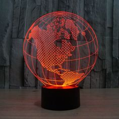 3D World Globe Night Lamp America globe 3D seven color vision light touch switch acrylic lamp