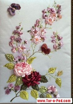 Wonderful Ribbon Embroidery Flowers by Hand Ideas. Enchanting Ribbon Embroidery Flowers by Hand Ideas. Ribon Embroidery, Embroidery Flowers Pattern, Hand Embroidery Designs, Embroidery Kits, Cross Stitch Embroidery, Ribbon Art, Ribbon Crafts, Flower Crafts, Floral