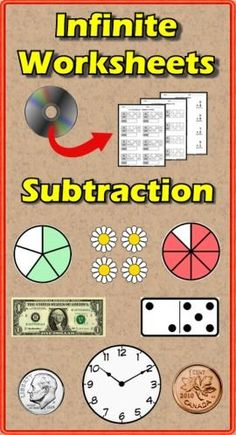 Tired of searching Google Images for free subtraction worksheets that are worth what you pay for them? Do you find those yearly subscription services are overpriced? Infinite Worksheets: Subtraction is the solution for you! This PC/Mac software gives you access to 134 unique subtraction worksheets: Speed Drills(10), Computation(10), Picture Addition(23), In/Out Boxes(12), US & Canada Currency(10), Telling Time(18), Fractions(3), Skip Counting(20), Inequalities(14) and Decimals & Money(14