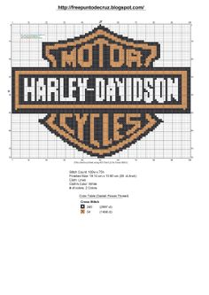 logo Harley Davidson x-stitch Counted Cross Stitch Patterns, Cross Stitch Charts, Cross Stitch Embroidery, Hand Embroidery, Plastic Canvas Crafts, Plastic Canvas Patterns, Loom Patterns, Beading Patterns, Embroidery Patterns