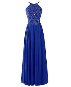 Long Royal Blue Chiffon Prom Dresse