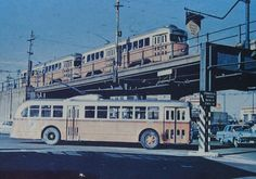 MBTA BOSTON TRACKLESS TROLLEY AND STREETCARS AT LEECHMERE