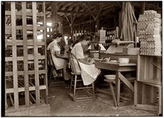 Cigar Box Girls: 1909- Girls working in Tampa, Florida, cigar box factory. I saw 10 small boys and girls. Has had reputation for employment of youngsters but work is slack now. January 28, 1909. Photograph by Lewis Wickes Hine.