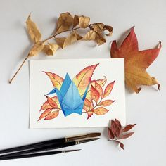 Blue paper crane & autumn leaves original watercolour painting inches by Zoya Makarova Arches Watercolor Paper, Watercolour Painting, Creative Illustration, Illustration Art, Winsor And Newton Watercolor, Paper Cranes, Or Mat, Gifts For Nature Lovers, Australian Artists