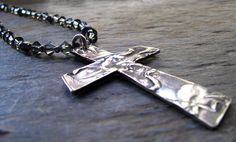 Pearl And Crystal Silver Cross Necklace PMC Fine by staciejewelry