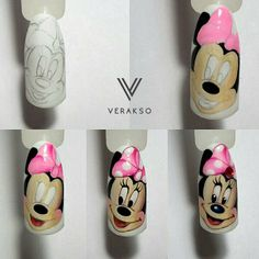 Фото ногти Дизайн Реалистичные цвета гель лака Shellac Nail Art, Diy Nails, Cute Nails, Pretty Nails, Minnie Mouse Nails, Mickey Mouse Nails, Animal Nail Designs, Diy Nail Designs, Sculpted Gel Nails