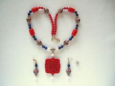 Exquisite Chinese Jewelry Exotic Red Flower Necklace Lapis Lazuli Red Coral Necklace Unique Necklace Jewelry Under 100 Dollars Gift for Wife