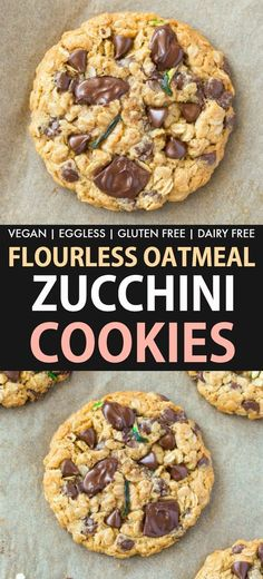 Flourless Zucchini Oatmeal Chocolate Chip Cookies are thick, chewy and soft oatm., Flourless Zucchini Oatmeal Chocolate Chip Cookies are thick, chewy and soft oatm. Zucchini Oatmeal Cookies, Zucchini Chocolate Chip Cookies, Soft Oatmeal Cookies, Chocolate Chip Oatmeal, Chocolate Cookies, Flourless Chocolate, Chocolate Chips, Zuchinni Cookies, Healthy Cookie Recipes