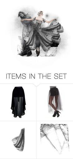 """""""The Great Divide."""" by theladyholl ❤ liked on Polyvore featuring art, dancer, ballet, death, ghost, afterlife, heaven, spirit, grey and figure"""