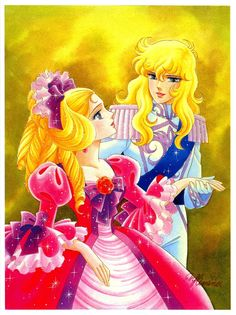 "Art of Marie Antoinette & Lady Oscar from ""Rose Of Versailles"" series by manga artist Riyoko Ikeda."