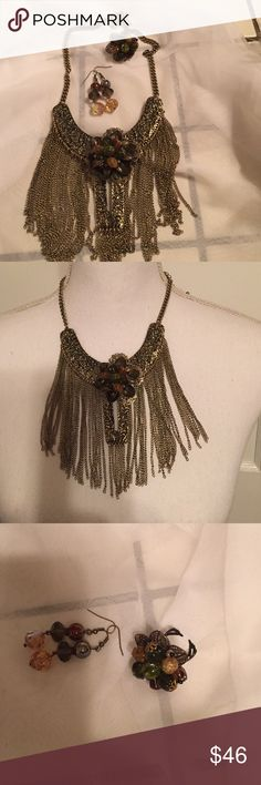 Boho three-piece jewelry set Boho one of a kind three-piece handcrafted set by Say Yes to the Rest.  This set consists of an antique brass-tone fringe necklace, which is adjustable to different lengths, adjustable ring, and pierced earrings Say Yes to the Rest Jewelry Necklaces