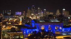 The downtown Kansas City skyline showcased the celebration spirit in blue after the Kansas City Royals beat the New York Mets in game 5 to win the World Series 2015.