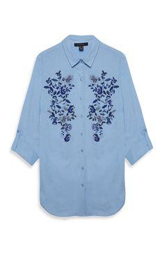 Primark - Lange Bluse mit Stickerei