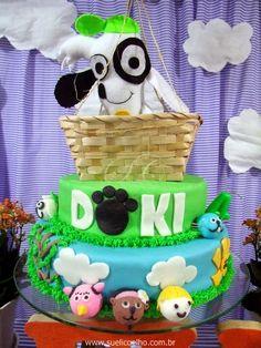 Bolo festa viagem de balão do Doki - Discovery Kids http://www.suelicoelho.com.br/2014/07/festa-infantil-doki-para-o-levi.html