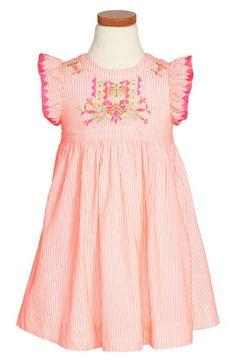 Nellystella 'Alexa' Embroidered Flutter Sleeve Dress (Toddler Girls, Little Girls & Big Girls) available at #Nordstrom