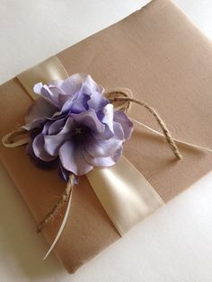 Rustic Wedding Guest Book - Purple Hydrangeas - Tea Dyed Muslin and Cream/Ivory Ribbon With Rope Bow - Handmade