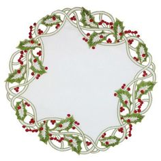 Xia Home Fashions Holiday Holly Embroidered Cutwork Round Christmas Doily