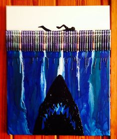 Hey, I found this really awesome Etsy listing at https://www.etsy.com/listing/193362738/jaws-inspired-melted-crayon-art-painting