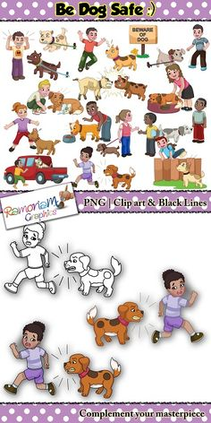 """This """"Be dog safe"""" clip art set focuses on what one must do and avoid doing when around dogs, especially dogs they do not know. The perfect visuals for teaching young children who may not know the dangers dogs can pose. #bedogsafe #ramonam #ramonamgraphics #kidsapproved #dogclipart #dogsafeclipart #puppyclipart #cutedogsclipart"""