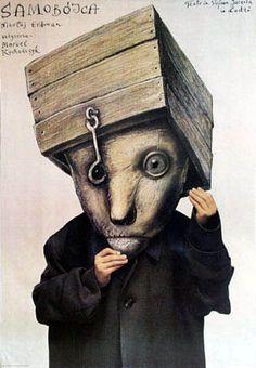 Samobojca / The Suicide - Nikolai Erdman. Theatre poster, designer: Stasys Eidrigevicius, 1988