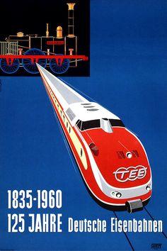 Afiche conmemorativo en favor de los 125 años del sistema ferroviario alemán: «showing Der Adler, the very first German steam locomotive and a VT 11.5 class Trans Europe Express train».