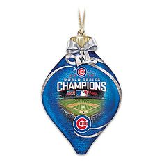 Chicago Cubs 2016 World Series Champions Glass Christmas Ornament