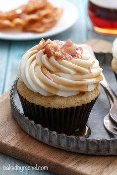 Moist maple bacon French toast cupcakes with maple cream cheese frosting recipe from @bakedbyrachel