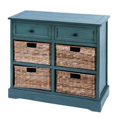 Teal cabinet with baskets