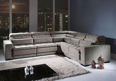 Sofá de Canto Hummel com assento retrátil e encosto reclinável.