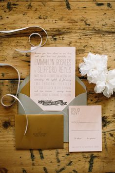 pink, grey, and gold invitations, photo by Mustard Seed Photography http://ruffledblog.com/rustic-texas-wedding #weddinginvitations #invites #stationery