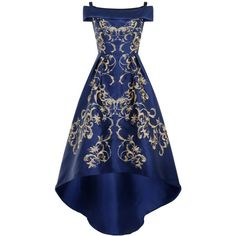 Chi Chi London Embroidered bardot dip hem dress ($100) ❤ liked on Polyvore featuring dresses, gowns, navy, women, maxi dress, blue evening dresses, blue maxi dress, strapless evening gown and blue evening gown
