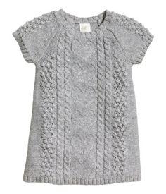 Natural White Pattern-Knit Dress, Would - Marecipe Knitting For Kids, Baby Knitting Patterns, Toddler Outfits, Kids Outfits, Knit Vest Pattern, Baby Girl Sweaters, Sweet Dress, Kids Wear, Knit Dress