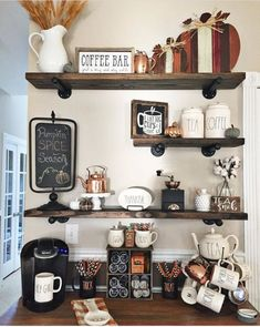 p/floating-shelves-floating-shelf-industrial-shelves-rustic-wood-shelving-wooden-shelves-industri delivers online tools that help you to stay in control of your personal information and protect your online privacy. Coffee Nook, Coffee Bar Home, Home Coffee Stations, Coffee Corner, Coffee Bars, Coffee Maker, Coffee Station Kitchen, Coffee Time, Cozy Coffee