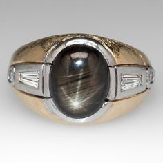 14K & Platinum Retro Mens Black Star Sapphire Ring