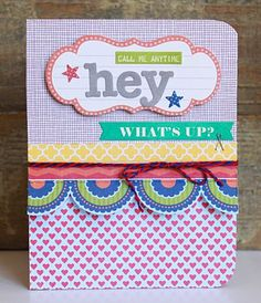 Hey Card by Becky Williams using Jillibean Soup's Neopolitan Bean Bisque Collection and Baker's Twine (via the Jillibean Soup blog).