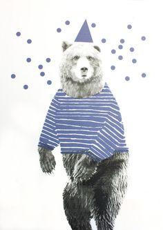 Siebdruck - TANZ BÄR Siebdruck A3 Illustration Zirkus Kinder - ein Designerstück von Morkebla bei DaWanda