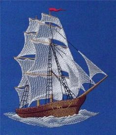 Sea ship free machine embroidery design. Machine embroidery design. www.embroideres.com