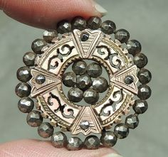 Carved MOP Pearl Shell Button Surrounded by Cut Steels