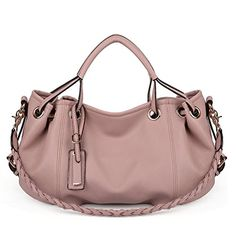 77fee229164b Amazon.com  UTO Women Handbag PU Leather Purse Hobo Style 3 Ways Shoulder  Bag Pink  Shoes
