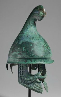 Greek Bronze Phrygian Helmet, Late Classical to Early Hellenistic, c. BCThe Phrygian helmet, also known as the Thracian helmet, was a type of helmet that originated in Classical Greece and was. Architecture Classique, Art Et Architecture, Ancient Armor, Medieval Armor, Greek History, Ancient History, Greek Helmet, Alexandre Le Grand, Hellenistic Period