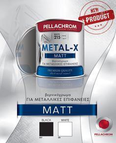Το νέο METAL-X ΜΑΤΤ με την ανανεωμένη εμφάνιση των προϊόντων της PELLACHROM, κυκλοφορεί! Το METAL-X είναι βερνικόχρωμα μεγάλης αντοχής και σκληρότητας για εσωτερικές και εξωτερικές μεταλλικές επιφάνειες. ☑️ ταχυστέγνωτο ☑️ ομοιόμορφο ματ φινίρισμα ☑️ αντιδιαβρωτικό φινίρισμα New Product, Personal Care, Black And White, Metal, Products, Self Care, Black N White, Personal Hygiene, Black White