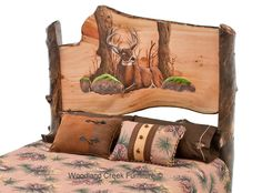 Hand Carved Log Bed with Buck Scene by Woodland Creek Furniture