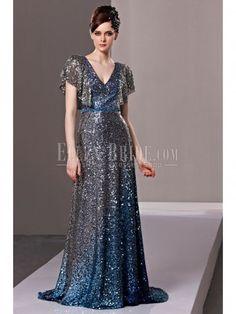 Sheath/Column V-neck Sweep Train Sequins Luxury Evening Dresses
