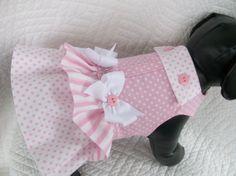 Pink Dog Dress Polka Dots Custom Made