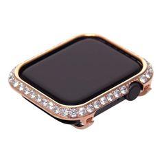 Big Diamond bezel case for Apple Watch 4 5 rose gold Apple Watch Colors, Rose Gold Apple Watch, Apple Watch Nike, Apple Watch Bands, Watch Case, Crystal Rhinestone, Diamond Jewelry, Series 4, Cover Band