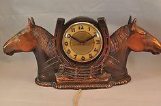 Vintage Working Ingraham Carmondy Electric Double Horse Head Clock Rare
